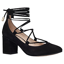 Buy Carvela Aid Lace Up Block Heeled Court Shoes, Black Suede Online at johnlewis.com