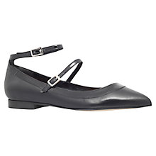 Buy Carvela Lucy Cross Strap Pointed Toe Flat Pumps, Black Leather Online at johnlewis.com