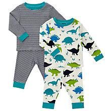 Buy John Lewis Baby Dinosaur Stripe Pyjamas, Pack of 2, Navy Online at johnlewis.com
