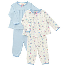 Buy John Lewis Baby Vintage Rose Stripe Pyjamas, Pack of 2, Cream/Blue Online at johnlewis.com