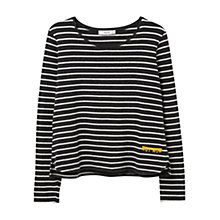 Buy Mango Striped Cotton T-Shirt, Dark Grey Online at johnlewis.com