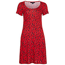 Buy French Connection Floral Print Jersey Dress, Havana Red Online at johnlewis.com