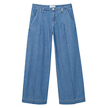Buy Mango Palazzo Denim Trousers, Open Blue Online at johnlewis.com