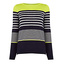 Buy Oasis Variegated Stripe Jumper, Navy/Multi Online at johnlewis.com
