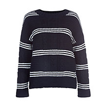 Buy Hobbs Striped Lauren Jumper, Navy/White Online at johnlewis.com