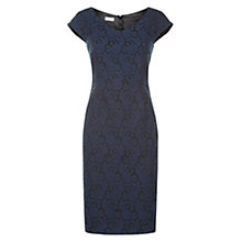 Buy Hobbs Ellis Jacquard Dress, Navy/Black Online at johnlewis.com
