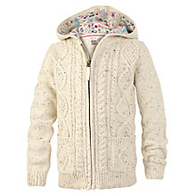 Buy Fat Face Girls' Lily Hooded Cable Knit Cardigan Online at johnlewis.com