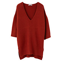 Buy Mango Textured Jumper, Dark Red Online at johnlewis.com
