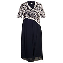 Buy Chesca Embroidered Scallop Dress, Navy/Ivory Online at johnlewis.com