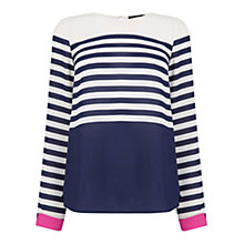Buy Oasis Stripe Colour Block Top, Multi Online at johnlewis.com