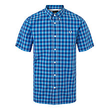 Buy Fred Perry Bold Gingham Short Sleeve Shirt, Cobalt Online at johnlewis.com