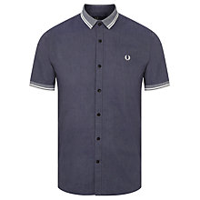 Buy Fred Perry Flat Knit Collar Oxford Short Sleeve Shirt, Dark Carbon Oxford Online at johnlewis.com