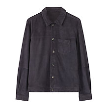 Buy Jigsaw Suede Trucker Jacket, Steel Online at johnlewis.com