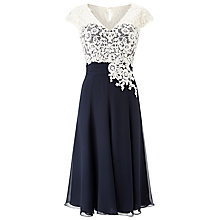Buy Jacques Vert Lace Bodice Chiffon Dress, Navy/Cream Online at johnlewis.com