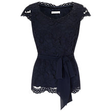 Buy Jacques Vert Lace Belted Top, Navy Online at johnlewis.com