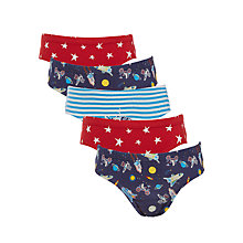 Buy John Lewis Boys' Space Briefs, Pack of 5, Red/Blue Online at johnlewis.com