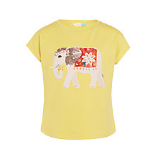 Buy John Lewis Girls' Elephant Print T-Shirt, Yellow Online at johnlewis.com