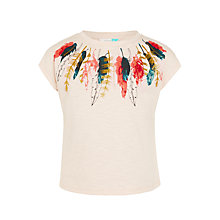 Buy John Lewis Girls' Feather Print T-Shirt, Pink Online at johnlewis.com