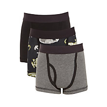 Buy John Lewis Boys' Skeleton Print Trunks, Pack of 3, Black/Grey Online at johnlewis.com