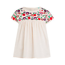Buy John Lewis Girls' Woven Floral Embroidered Top, Pink Online at johnlewis.com