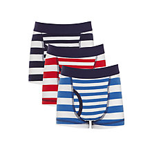 Buy John Lewis Boys' Nautical Stripe Trunks, Pack of 3, Blue/Red Online at johnlewis.com
