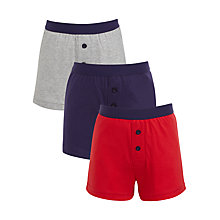 Buy John Lewis Boys' Nautical Themed Boxers, Pack of 3, Blue/Red Online at johnlewis.com