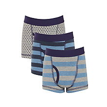 Buy John Lewis Boys' Stripe and Spot Trunks, Pack of 3, Blue/Grey Online at johnlewis.com