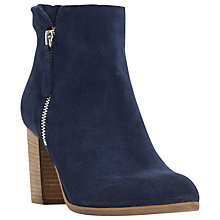 Buy Dune Black Phollie Block Heeled Suede Ankle Boots Online at johnlewis.com