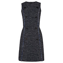 Buy Warehouse Button Front Tweed Dress, Blue Online at johnlewis.com