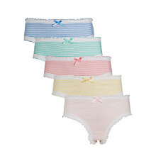 Buy John Lewis Girls' Frilly Stripe Briefs, Pack of 5, Multi Online at johnlewis.com