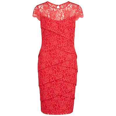 Gina Bacconi Antique Lace Layered Dress, Coral