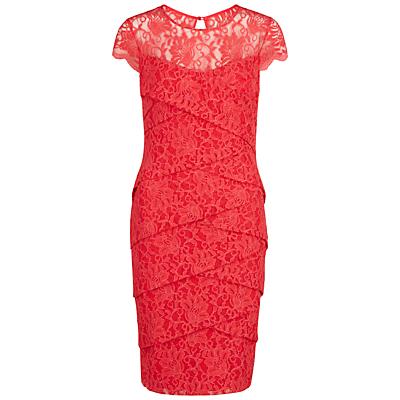 Gina Bacconi Antique Lace Layered Dress, Coral