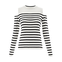 Buy Whistles Stripe Cold Shoulder Knit Top, White/Black Online at johnlewis.com