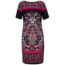Buy Adrianna Papell Paisley Print Shift Dress, Black/Pink Online at johnlewis.com