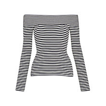 Buy Whistles Rib Knit Long Sleeve Bardot Top, Blue/White Online at johnlewis.com