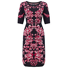 Buy Adrianna Papell Scoop Neck Jacquard Print Dress, Claret/Multi Online at johnlewis.com