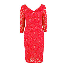 Buy Gina Bacconi Stretch Lace Ruched Dress, Bright Red Online at johnlewis.com