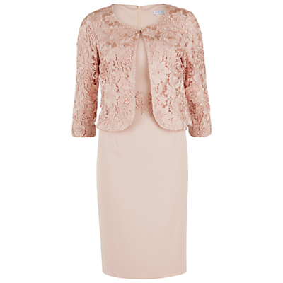 Gina Bacconi Moss Crepe Dress With Guipure Lace Jacket, Apricot Crush