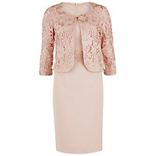 Buy Gina Bacconi Moss Crepe Dress With Guipure Lace Jacket, Apricot Crush Online at johnlewis.com