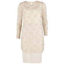 Buy Gina Bacconi Two Tone Bead Crepe Dress, Nude Online at johnlewis.com