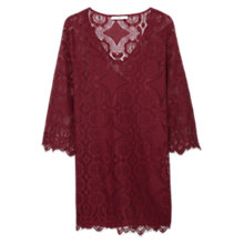 Buy Mango Lace Dress, Dark Red Online at johnlewis.com