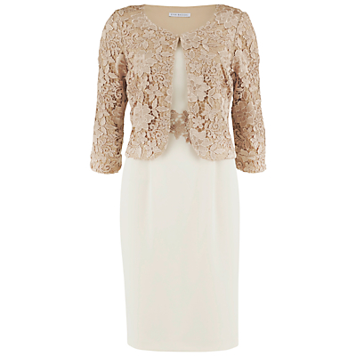 Gina Bacconi Moss Crepe Dress with Guipure Lace Jacket, Almond