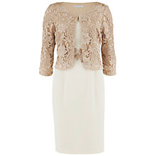 Buy Gina Bacconi Moss Crepe Dress with Guipure Lace Jacket, Almond Online at johnlewis.com