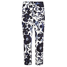 Buy Viyella Rose Print Capri Trousers, White/Ink Blue Online at johnlewis.com