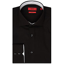 Buy HUGO by Hugo Boss Plain Poplin Shirt, Black Online at johnlewis.com
