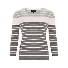 Buy Viyella Stripe Pocket Top, Grey/Pink Online at johnlewis.com