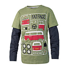 Buy Fat Face Boys' Long Sleeve Two In One Van T-Shirt, Green Online at johnlewis.com