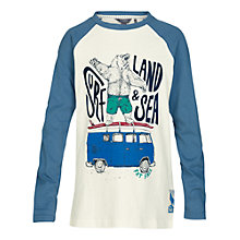 Buy Fat Face Boys' Surfing Bear Print T-Shirt, Ecru Online at johnlewis.com