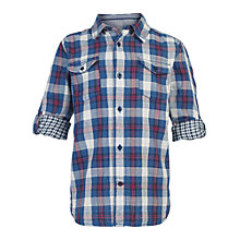 Buy Fat Face Boys' Brixham Check Shirt, Blue Online at johnlewis.com