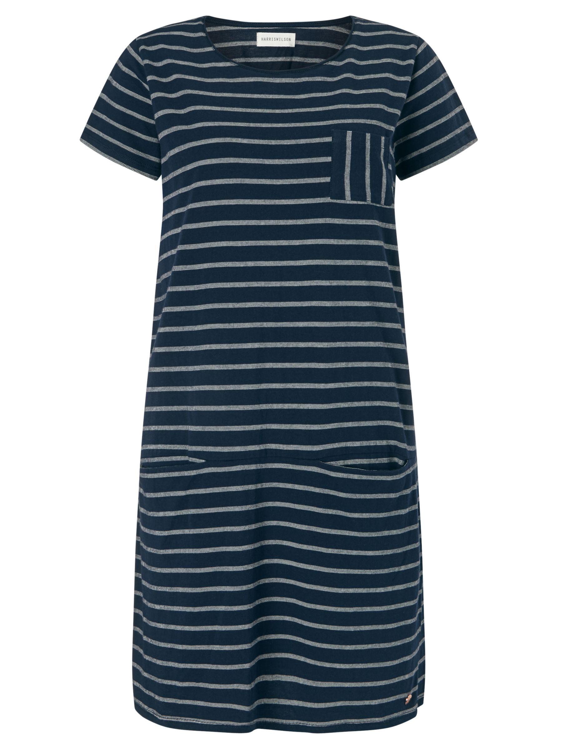 Harris wilson Harris Wilson Manola Stripe Jersey Dress, Marine/Ecru